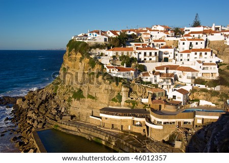 View of the touristic village of Azenhas do Mar in Portugal
