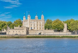 View of the Tower of London from accross the river Thames