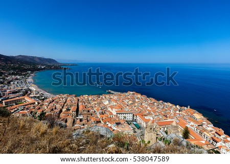 View of the town of Cefalu, Sicily, Italy from the La Rocca hilltop #538047589