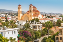 View of the town of Paphos in Cyprus.  Paphos is known as the center of ancient history and culture of the island.  It is very popular as a center for festivals and other annual events.