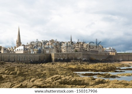 View of the town walls St Malo, Brittany, French