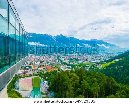 View of the track of the Bergisel ski jump stadium overlooking Innsbruck town in Austria.