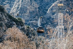 View of the tramway in the mountains