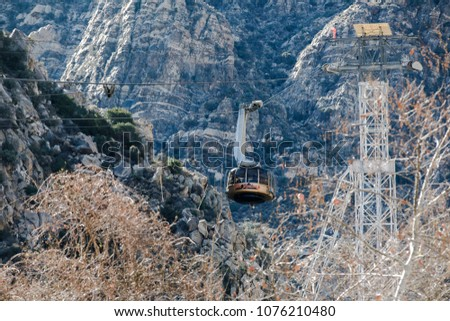 View of the tramway in the mountains - Shutterstock ID 1076210480