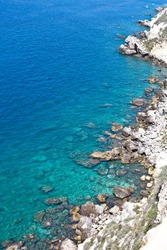 View of the Tremiti Islands. Overview of rock stone coast. San Domino island, Italy: scenic view of tipycal rocky coastline. Adriatic Sea. Puglia, Italy.
