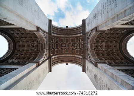 view of the Triumphal Arch from below in Paris, France, stucco