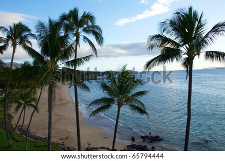 View of the tropical beach at Kamaole beach park II in kihei Maui, Hawaii