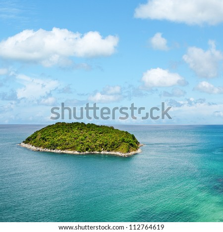 View of the tropical island. Square composition.