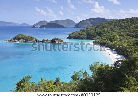 View of the Trunk Bay beach on the north shore of US Virgin Islands - stock photo