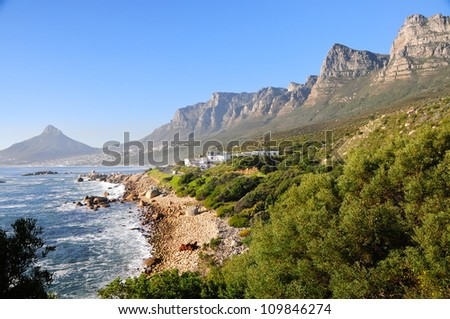 View of the twelve apostles mountain chain, Cape Town, South Africa