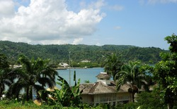 View of the Twin Harbor, the sea and mountains in the background. Port Antonio, Jamaica, Caribbean (February 2017).