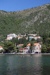 View of the typical croatian old houses in the coastline of the Adriatic sea
