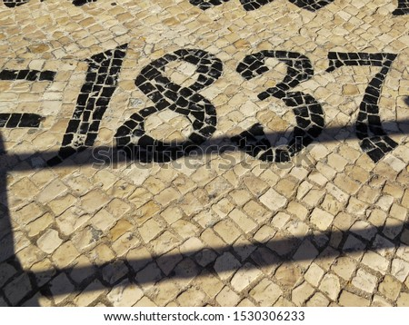"""View of  the  typical tiles floor  of the famous Pastry shop """"Pasteis de Belem"""" of Lisbon, Portugal"""