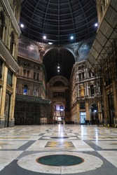 View of the Umberto 1 gallery (Umberto 1 galleria) in Naples, Italy (Napoli, Italia) at night with no people.