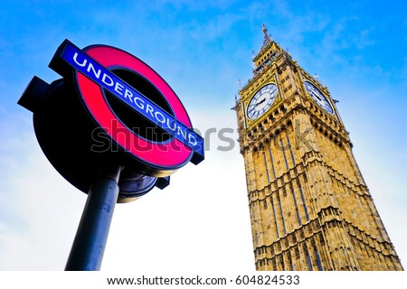 View of the underground station sign and Houses of Parliament.