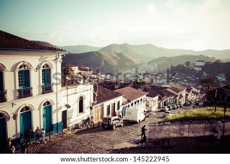 View of the unesco world heritage city of Ouro Preto in Minas Gerais Brazil Foto stock ©
