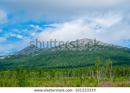 View of the Ural Mountains in Perm Krai. Russia