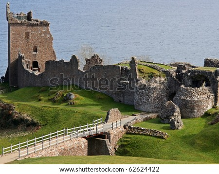View of the Urquhart Castle near Inverness, Scotland