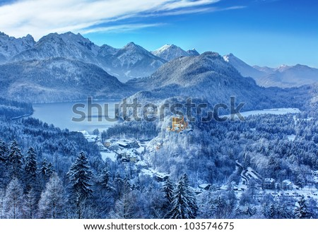 View of the valley and the castle Hohenschwangau