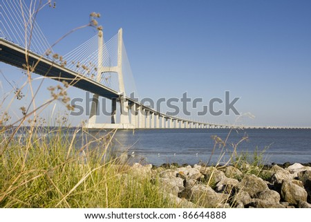 View of the Vasco de Gama bridge over the Tagus - Lisbon