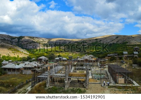 view of the village. all houses are made of wood. structures built by the Vikings in the mountains. #1534192901
