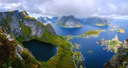 view of the village among the fjords in norway, lofoten islands