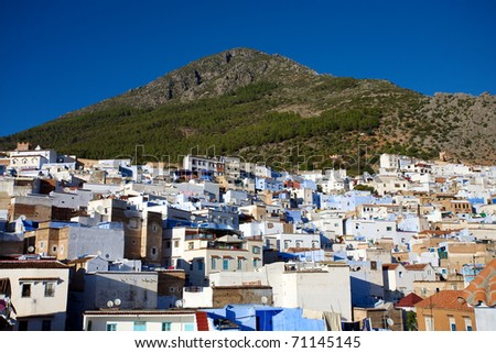 View of the village Chaouen or Chefchaouen in the Rif mountain in Morocco