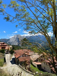 View of the village of Colio, in Liébana,  Europa Peaks, Cantabria, Spain.
