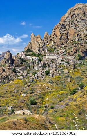 View of the village of Pentedattilo, District of Reggio Calabria, Calabria, Italy #1331067002