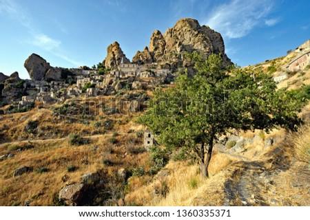 View of the village of Pentedattilo, District of Reggio Calabria; Calabria; Italy; Europe #1360335371
