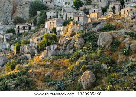 View of the village of Pentedattilo, District of Reggio Calabria, Calabria, Italy, Europe #1360935668