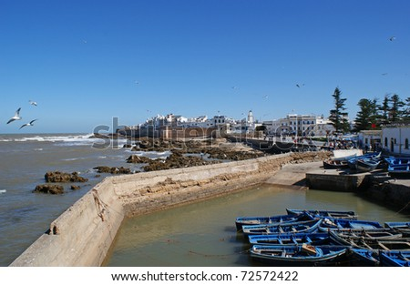 View of the walled coast city of Essaouira, a port on the Moroccan Atlantic coast, and white buildings