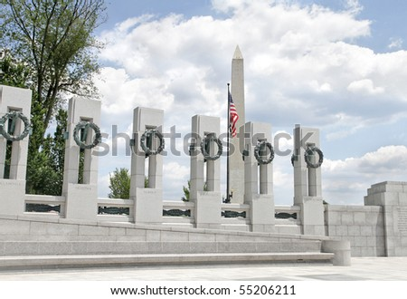 View of the Washington Monument and the World War II Memorial in DC