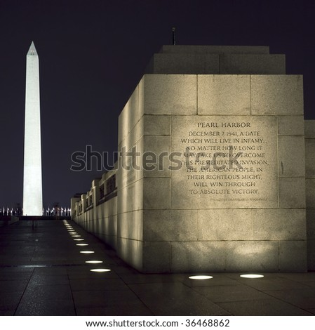 View of the Washington Monument and World War II Memorial (Pearl Harbor Dedication) at night
