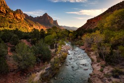 View of the Watchman mountain and the virgin river in Zion National Park located in the Southwestern United States, near Springdale, Utah
