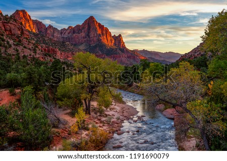 View of the Watchman mountain and the virgin river in Zion National Park located in the Southwestern United States, near Springdale, Utah, Arizona #1191690079