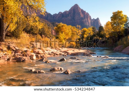 View of the Watchman mountain and the virgin river in Zion National Park located in the Southwestern United States, near Springdale, Utah #534234847