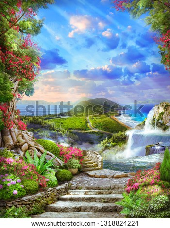 View of the waterfall, sea, mountains. Digital photo manipulation.