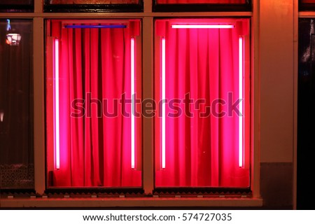 View of the window in red light district in Amsterdam Netherlands