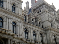 View of the windows and facade of the New York State Capitol Building in Albany, New York