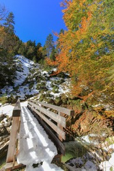 View of the wooden bridge and forest covered with snow during Autumn in Unterautal, Austria, Europe