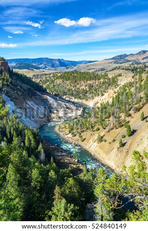View of the Yellowstone River near Tower Fall in Yellowstone National Park