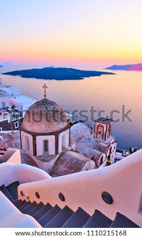 View of Thira town at sundown, Santorini, Greece