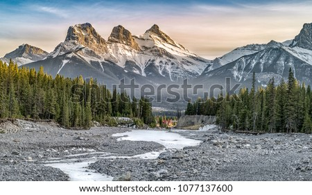 View of Three Sisters Mountain, well known landmark in Canmore, Canada