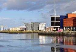 View of Titanic Belfast and River Lagan. Belfast, Northern Ireland