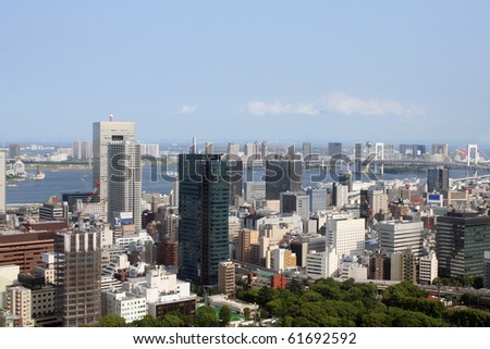 View of Tokyo bay and metropolitan area, Japan.