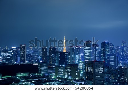 View of Tokyo downtown at night with Tokyo Tower