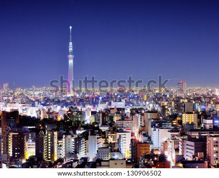 View of Tokyo Sky Tree at night.
