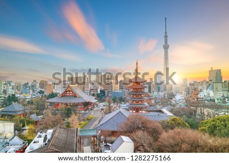 View of Tokyo skyline at twilight in Japan.