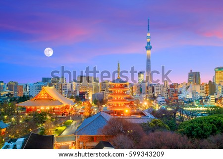 View of Tokyo skyline with Senso-ji Temple and Tokyo skytree at twilight in Japan.
